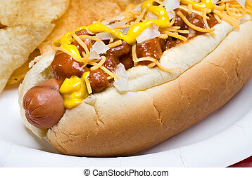 Chili dog and potato chips