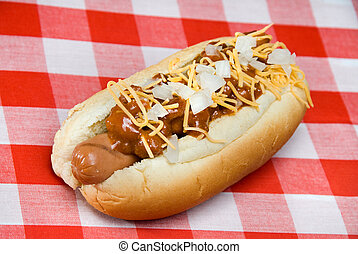 Chili dog on picnic table