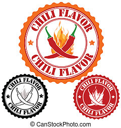 Chili flavor set of rubber stamps, vector illustration