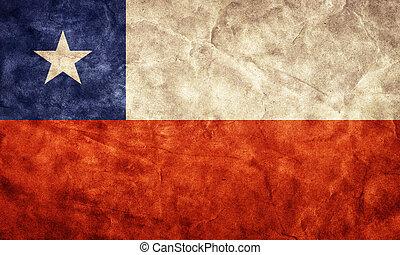 chili, grunge, flag., article, depuis, mon, vendange, retro, drapeaux, collection