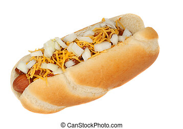 Chili hot dog with cheese and onions