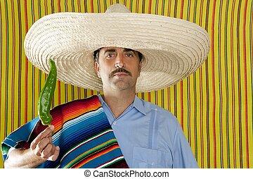Chili hot pepper Mexican man typical poncho serape