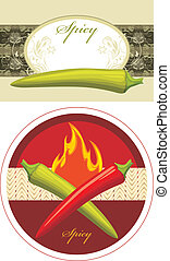 Chili hot red and green peppers. Labels for design. Vector...