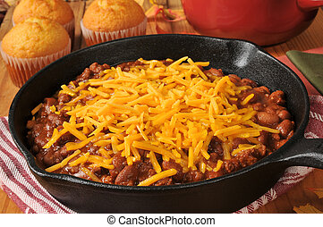 Chili in a cast iron skillet