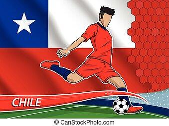 chili, joueur, football, uniforme, équipe