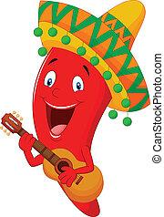 chili, karakter, peper, rood, spotprent