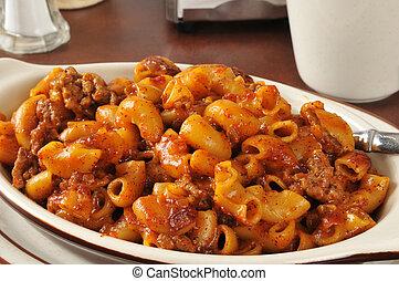Chili Mac Closeup - Closeup of a chili and macaroni ...
