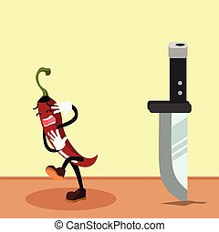 chili man scared of knife