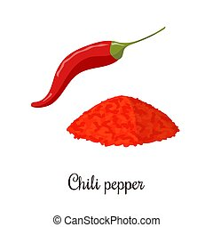 Chili pepper realistic style isolated on white background. Chili pepper powder. Spice symbol. For food design, restaurant, store, natural health care products. Can be used as logo, price tag, label