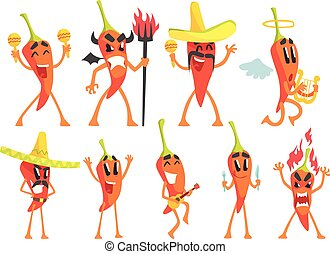 Chili Pepper Cartoon Character Emotion Illustrations Set