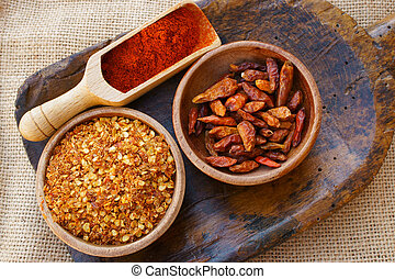 Chili pepper, dried, crushed and as powder