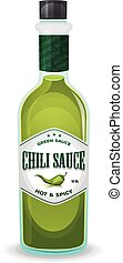 Chili Pepper Green Sauce In Bottle