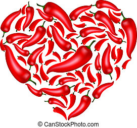 Chili Pepper Heart Shape, Isolated On White Background, Vector Illustration