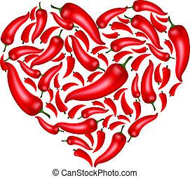 Chili Pepper Heart Shape, Isolated On White Background, Vector Illustration