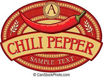 chili pepper label (chili pepper symbol)