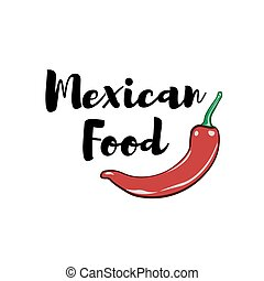 Chili Pepper Label. Mexico Food. Traditional Mexican Cuisine Vector illustration isolated on white