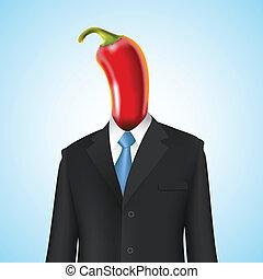 chili pepper man business concept