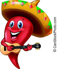 Chili pepper mariachi wearing sombrero playing a guitar