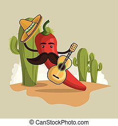 chili pepper mexican character