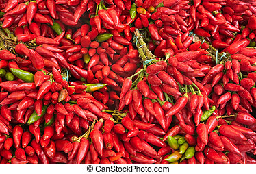chili pepper - market vegetable, heap of red and spicy...