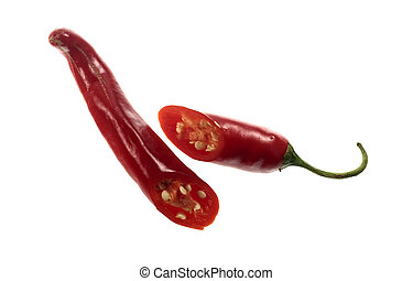Chili Pepper Red Cayenne - Transversal cut of a Red Cayenne....