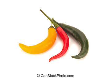 chili pepper red/green/orange/yellow isolated on a white background