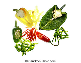 Chili Pepper Variety - Transversal and julienne cuts of a...