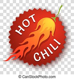 Chili pepper - Vector stisker with chili pepper in fire