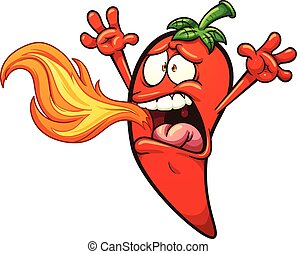 Chili Pepper - Spicy chili Pepper breathing fire. Vector...