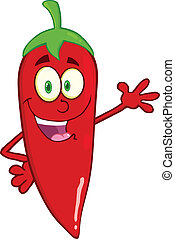 Smiling Red Chili Pepper Cartoon Mascot Character Waving For Greeting
