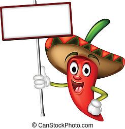 vector illustration of chili pepper cartoon with blank board