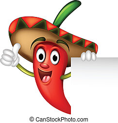 chili pepper with blank sign - vector illustration of chili...