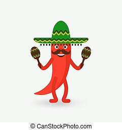 chili pepper with maracas in sombrero