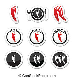 Chili peppers, hot and spicy food i - Vector red and black...