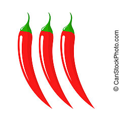 Chili peppers - Three chilli peppers. Vector illustration