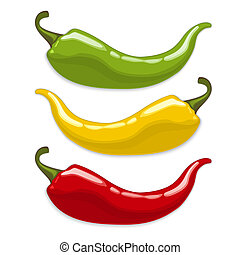Chili peppers. Isolated vector - Red, yellow, green hot...