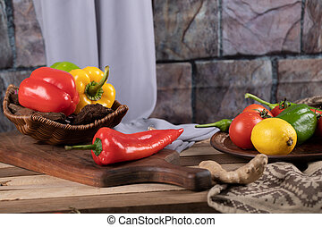 Chili peppers on a wooden rustic table