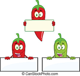 Chili Peppers Cartoon Mascot Character Over Blank Sign Collection Set