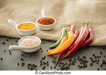 Chili peppers, salt, turmeric powder and red pepper powder...