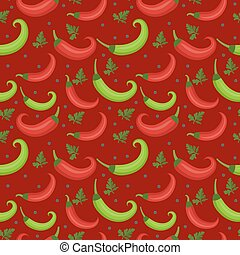 Chili peppers seamless pattern. Pepper red and green endless background, texture. Vegetable background. Vector illustration.