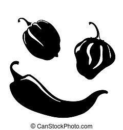 Chili peppers silhouettes - Chili and habanero peppers...