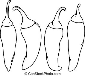 Chili peppers. Vector black and white coloring page