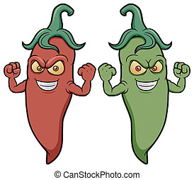Chili peppers - Vector illustration of cartoon chili peppers