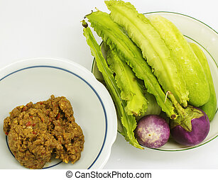 Chili sauce and vegetables