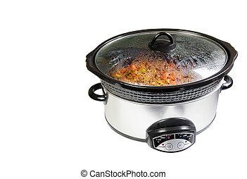 Chili simmering in crock pot.