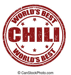 Chili stamp - Grunge rubber stamp with the word Chili...