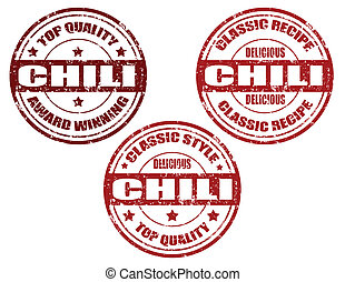 Chili-stamps - Set of grunge rubber stamps with word chili...