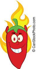 chili, teufel, zeichen, pfeffer, rotes