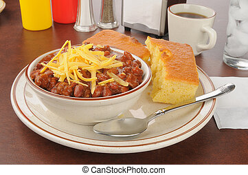 Chili with cheese and cornbread