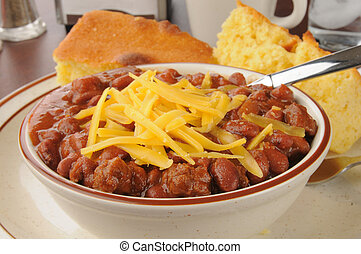 Chili with cheese closeup